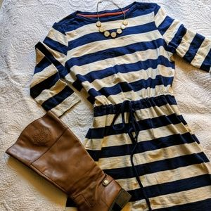 Blue and Cream striped dress